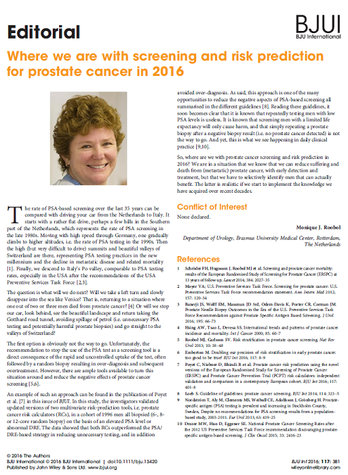 Prostaatkankerscreening anno 2016; hoe staan we ervoor en hoe zien we de toekomst voor ons – editorial door dr. Monique Roobol