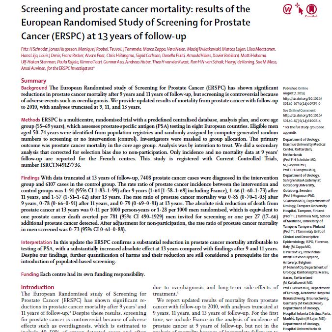 ERSPC 13-jaar follow-up gegevens gepubliceerd in The Lancet