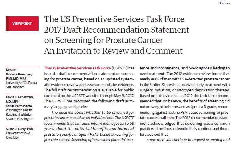USPSTF past zijn aanbeveling over screenen op prostaatkanker aan