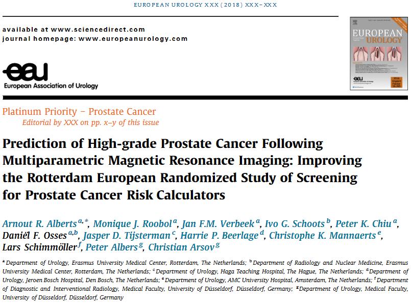 De Prostaatwijzer uitgebreid met MRI – publicatie in European Urology
